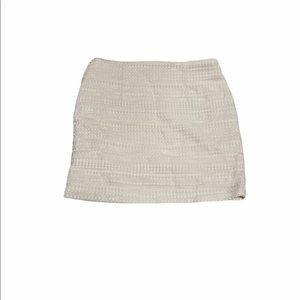 H&M Cream Brocade Woven Tweed Career Mini Skirt 10
